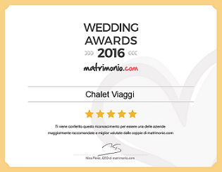 premio wedding awards 2016 Chalet Viaggi