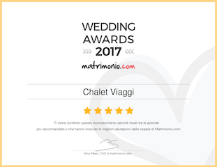 premio wedding awards 2017 Chalet Viaggi