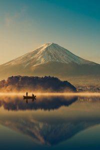 Mount Fuji At Lake Kawaguchiko,Sunrise , Vintage giappone